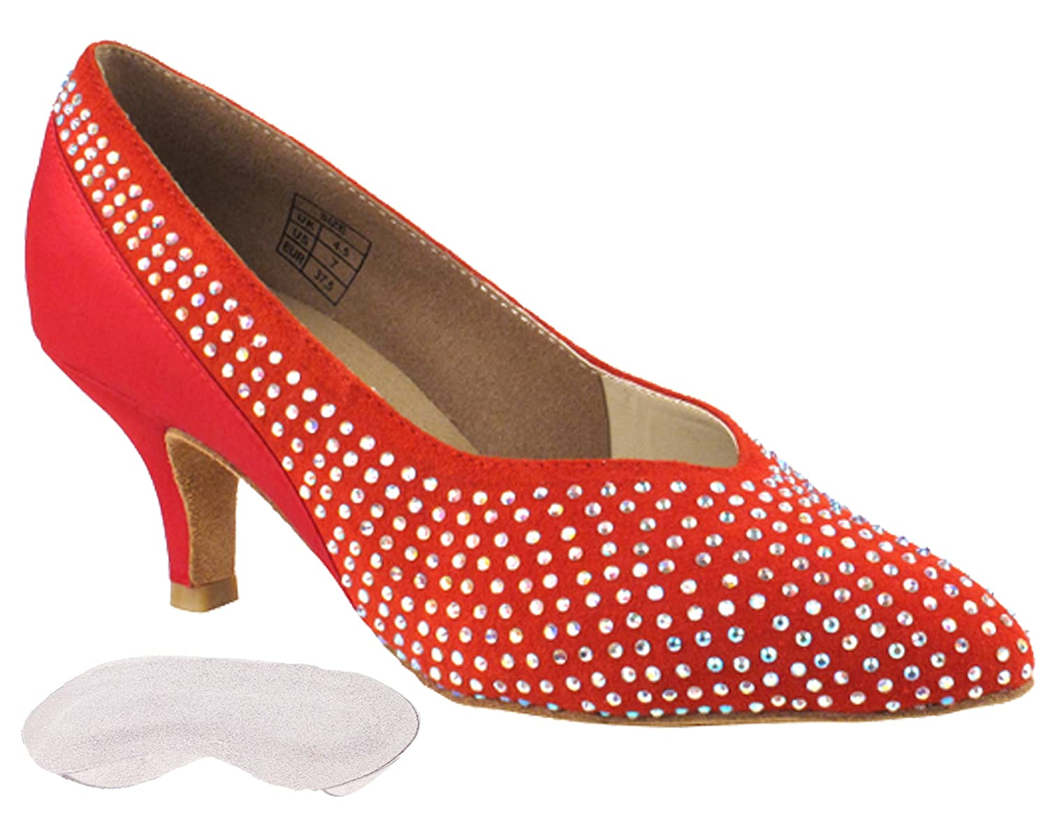 [Very Fine Dance Shoes] レディース B00HBGMWYI Red suede & satin 9 (B,M) US