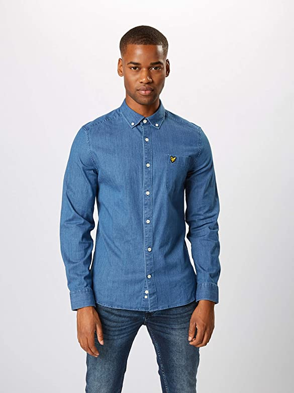 Lyle /& Scott Light Blue Stretch Denim Shirt Long Sleeve LW1105V