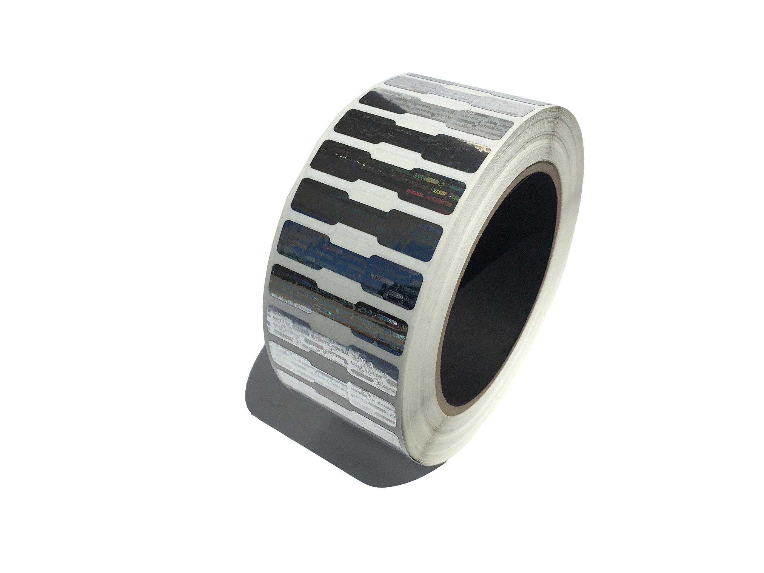 5,000 Silver Dog Bone Hologram Sticker TamperMax Tamper Evident Security Label Holographic Seal Sticker, size 1.75'' x 0.375'' (44mm x 9mm).