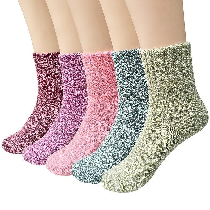 6 opinioni per Ndier 5paia di calzini da donna in lana invernale calda e confortevole da