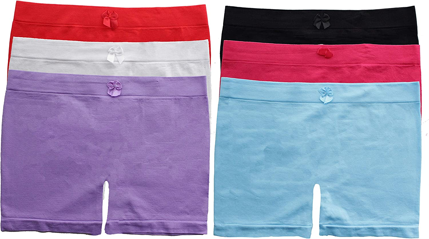 Gilbins Girls Above Knee Seamless Solid Colors Nylon Bike Shorts for Sports Or Under Skirts, 6 Pack