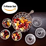 Dessert Round Bowl Set, 1 Large Bowl and 6 Small Serving Pieces, Premium Crystal-Like Glassware, Set of 7