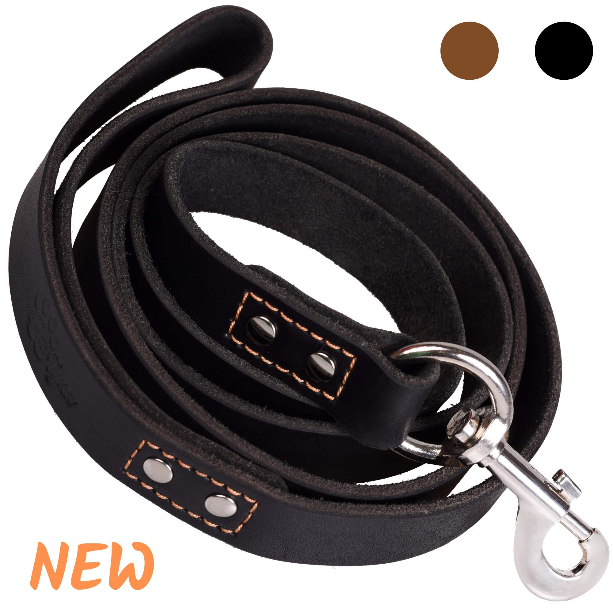 ADITYNA - Heavy Duty Leather Dog Leash 6 Foot - Strong and Soft Leather Leash for Extra Large, Large and Medium Dogs - Dog Training Leash (XL - 6 ft x 1 inch, Black)