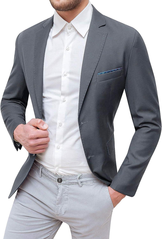 Evoga Giacca Uomo Sartoriale Elegante con Pochette da Taschino