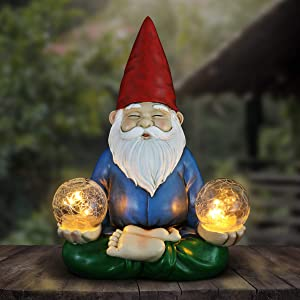 Exhart Solar Yoga Garden Gnome Holding 2 Glass Balls Garden Statue - Hand-Painted Outdoor Statue of a Gnome in Cross-Legged Meditation Pose w/Solar LED Lights Glass Orbs, 11