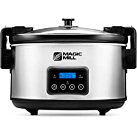 Magic Mill 8.5 Quart Slow Cooker Crock Pot, Digital Programmable, 20 Hour Timer, 3 Cooking Settings, Locking Lid for…