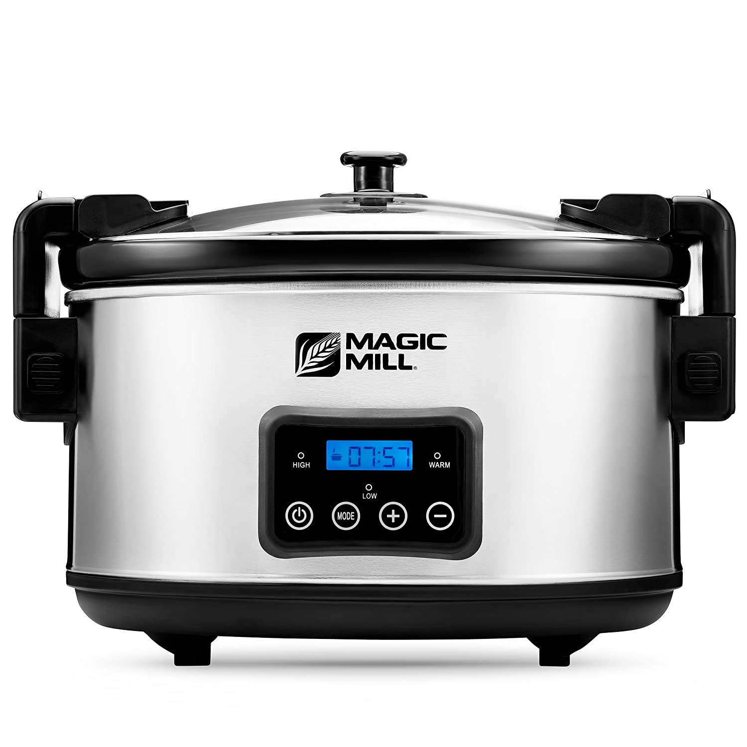 Magic Mill 8.5 Quart Slow Cooker Crock Pot, Digital Programmable, 20 Hour Timer, 3 Cooking Settings, Locking Lid for Easy Transport, Dishwasher Safe