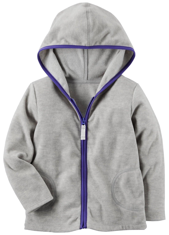 Carter's Girls Fleece Zip-Up Hoodie; Heather/Purple Trim (6M)