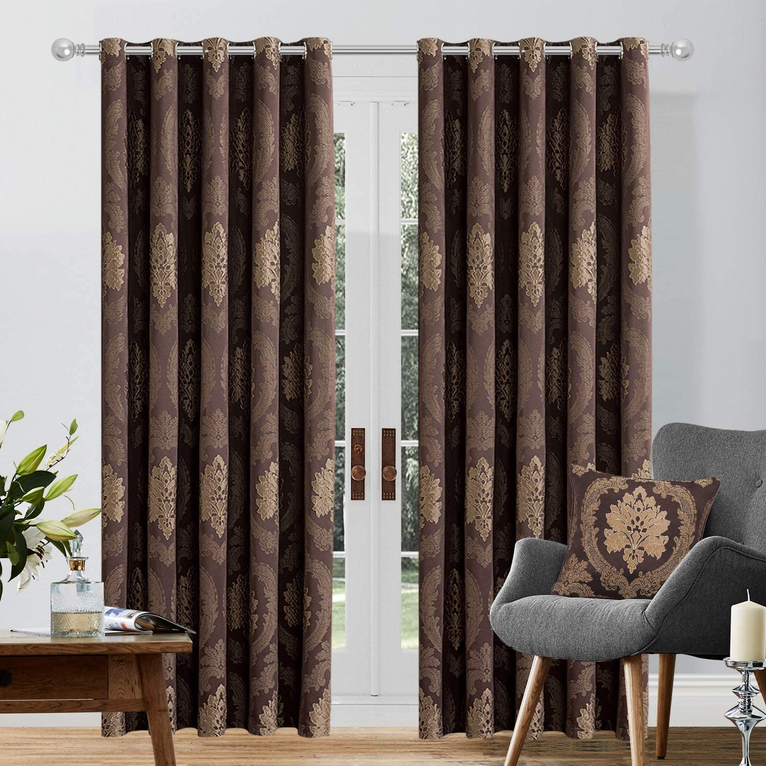 Imperial Rooms Windows Blinds Jacquard Ring Top Fully Lined Readymade Pair Of Curtains With Two Tie Backs Betty Chocolate 66x72 Eyelet Amazon Co Uk Kitchen Home