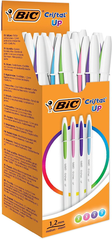 BIC Cristal UP, Pack De 20 Bolígrafos, Surtidos: Amazon.es: Oficina y papelería