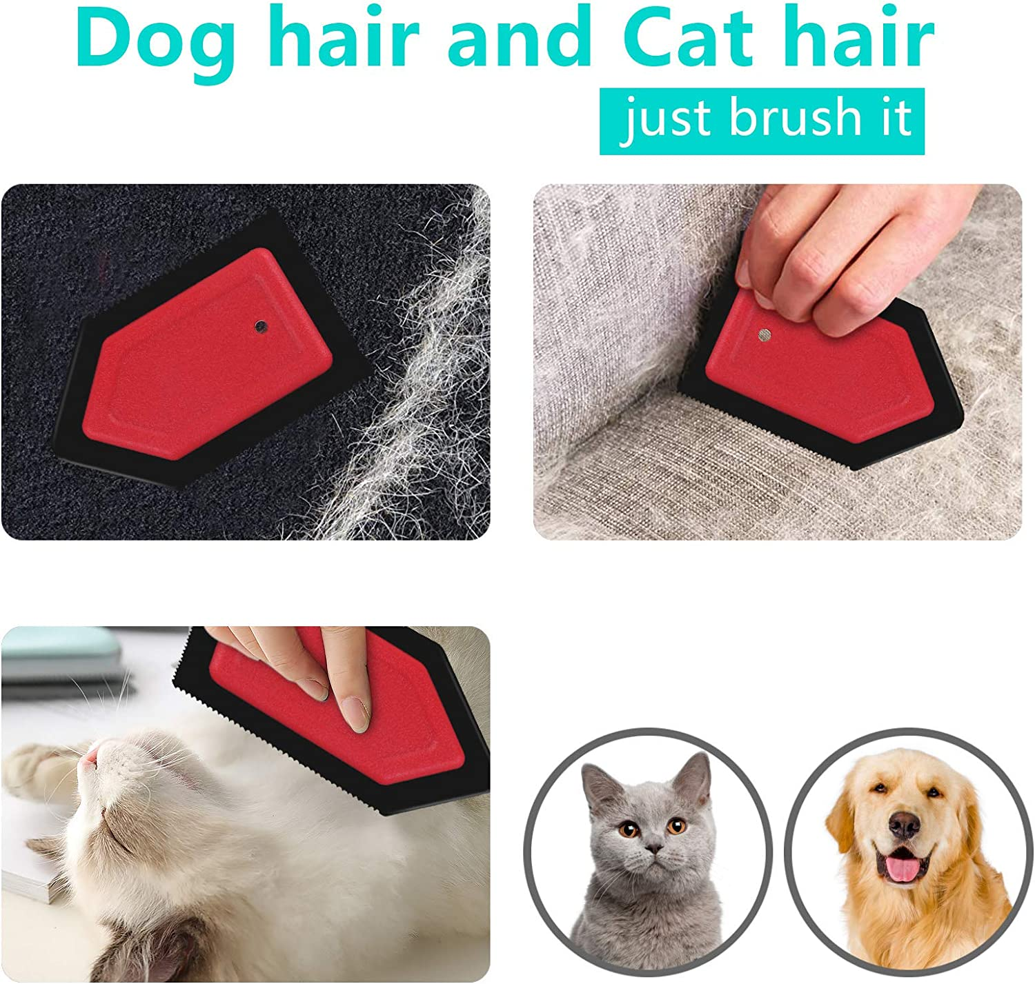 2 Pack Mini Dog Hair Remover to Clean Cat Hair Remover Car Detailing Squeegee Pet Hair Brush for Furniture Automotive SHINROAD Pet Hair Remover for Couch//Car
