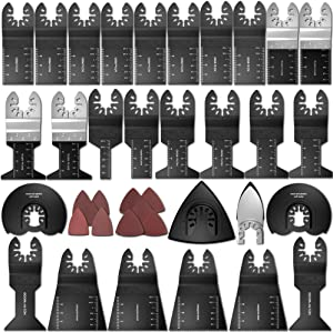 Oscillating Saw Blades 68 Pack, HOTBEST Sanding Scraper Universal Bi-Metal/Wood Oscillating Multi-Tool Quick Release Saw Blades Accessories Kit for Fein Multimaster Porter Cable Black and Decker Bosch