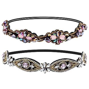 d909f13bc09 Amazon.com   Ondder 2 Pieces Rhinestone Beads Elastic Headband Handmade  Crystal Beads Hairbands Hair Accessories For Women   Beauty