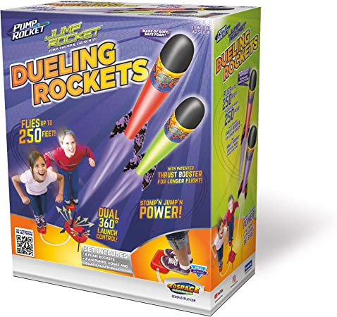 Geospace Jump Rocket Dueling Rockets Set with 2 Air Pumps, 2 Swivel Launch Tubes, Launch Pad and 6 Foam Rockets