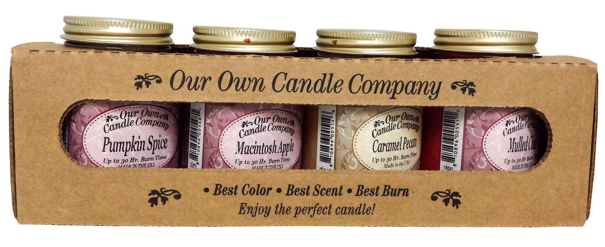 Our Own Candle Company 4 Pack Fall Assortment Mini Mason Jar Candles - 3.5 Oz Caramel Pecan, 3.5 Oz Mulled Cider, 3.5 Oz Pumpkin Spice, 3.5 Oz Macintosh Apple, By
