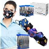 Sheal 50PCS 3D Disposable 4-Layer Face Masks for Unisex Adult 5-Galaxy Pattern Design, Each Individually Packaged