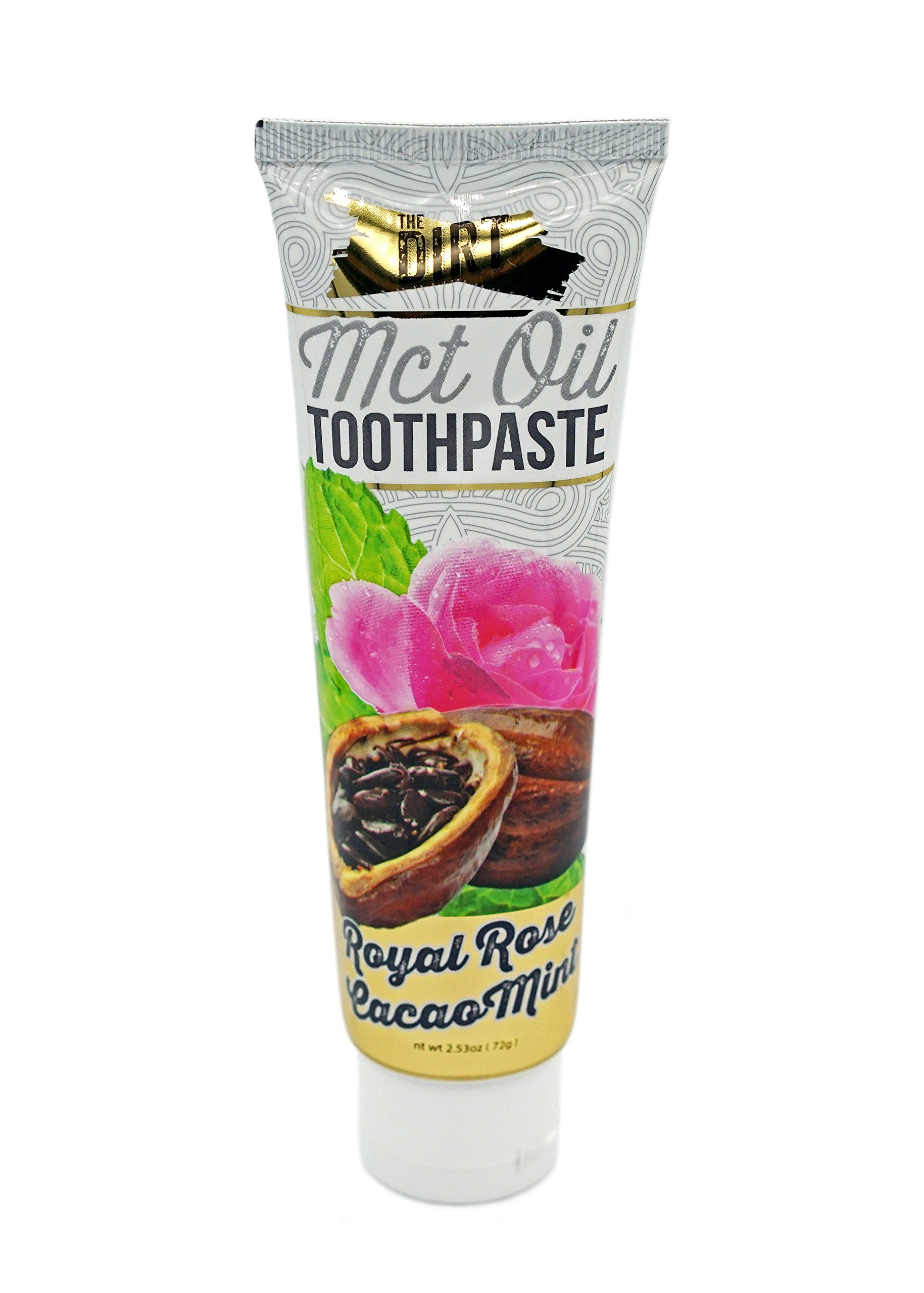 The Dirt All Natural Coconut Oil Toothpaste - Rose Cacao Mint - 10 week supply - 72g
