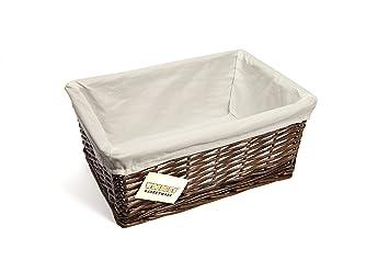 WoodLuv Medium Wicker Storage Basket with White Lining Dark Brown  sc 1 st  Amazon UK & WoodLuv Medium Wicker Storage Basket with White Lining Dark Brown ...