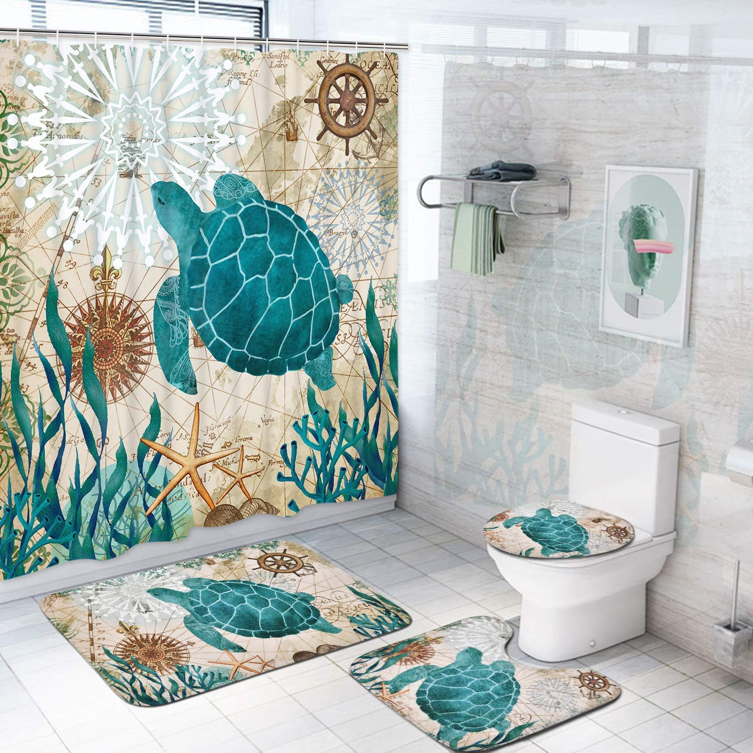 Sea Turtle Shower Curtain Sets