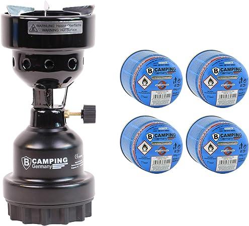 Mediablue - Hornillo de gas para camping y shisha 2 en 1 (metal, 4 gas), color negro