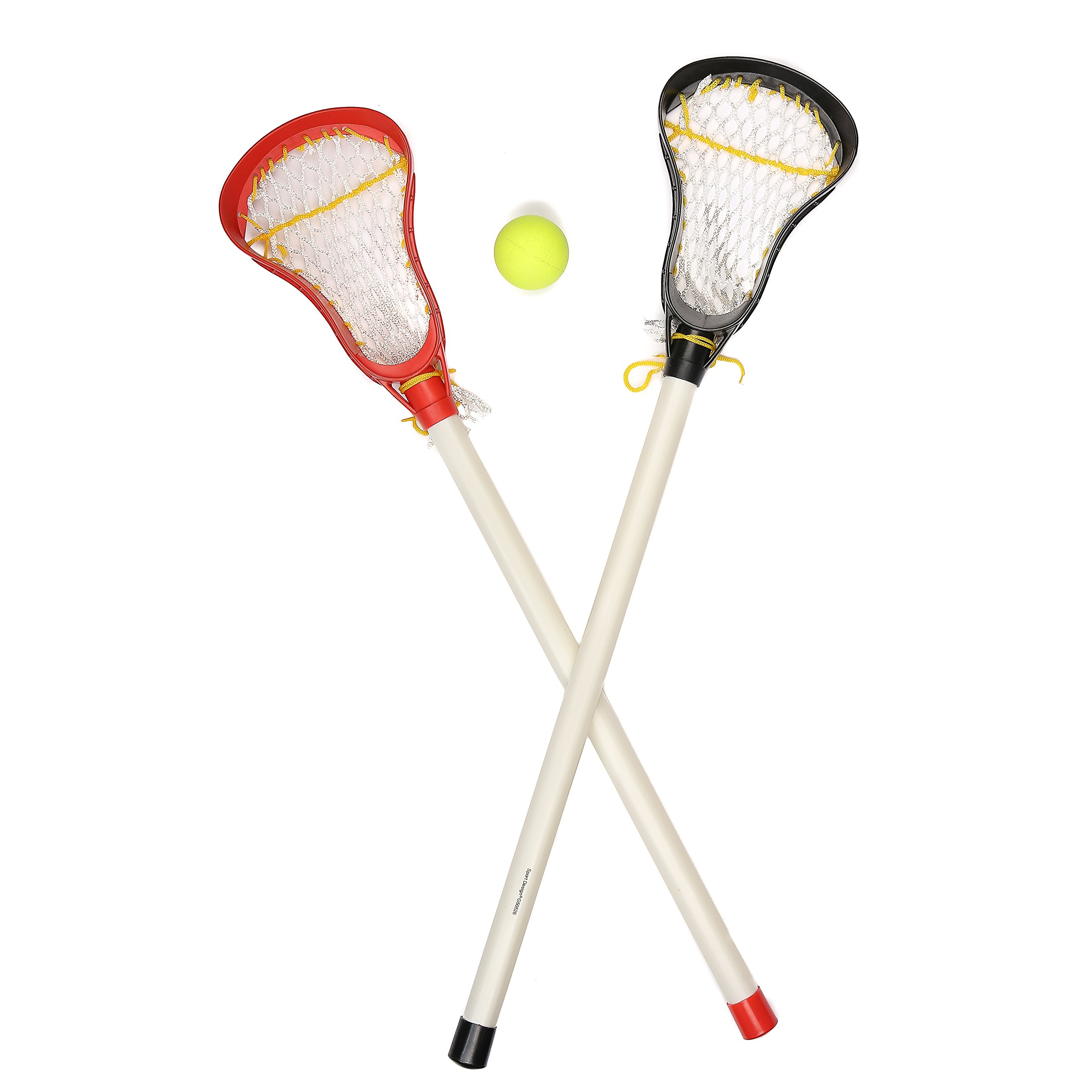Kids Lacrosse Sticks - 2 Sticks (30 Inches) & 1 Ball - Soft Mesh Pockets, Durable Plastic Handles, & Large Head Design