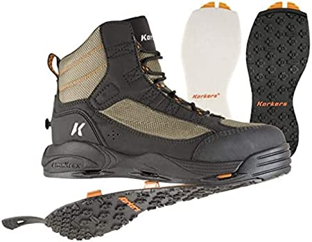 This wading boot photo shows the Korkers Greenback Wading Boots with Felt and Kling-On Soles.