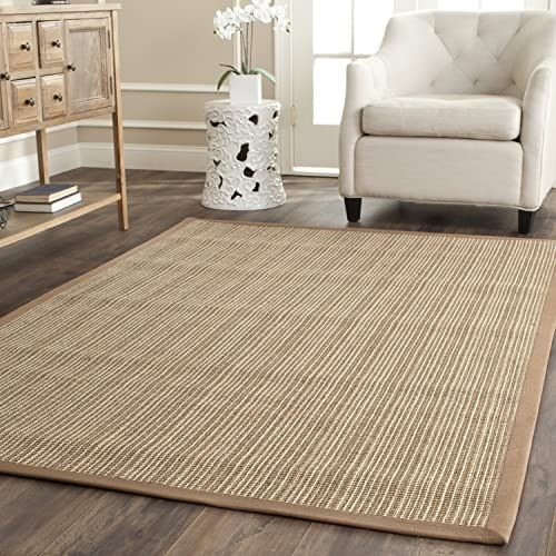 Safavieh Natural Fiber Collection NF442D Martinique Stripe Tan Sisal Area Rug 9' x 12'