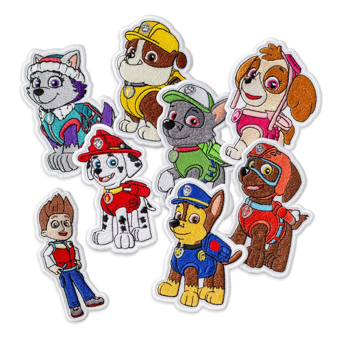 PAW Patrol Collection Set (Ryder, Chase, Everest, Marshall, Rocky, Rubble, Skye, Zuma) Embroidered Patches Iron On by Embrosoft