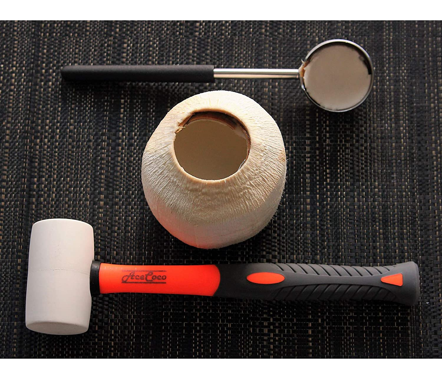 [2018 Version] Coconut Opening Tool Set. Food Grade Stainless Steel tool and Wooden Hammer/Mallet / Gavel to open Young Cocoanuts. Safe Home & Kitchen opener to cut a hole - #1 Hammer AceCoco