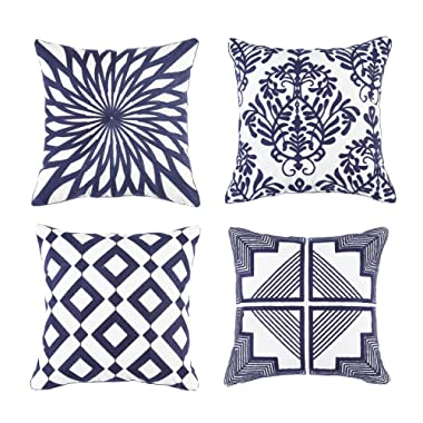 Soamay Set of 4 Embroidered Throw Pillow Covers with Non-Printing Geometric Pattern for Sofa Bedroom Car Chair,Cushion Case 100% Cotton 18 x 18 inch(Deep Blue)