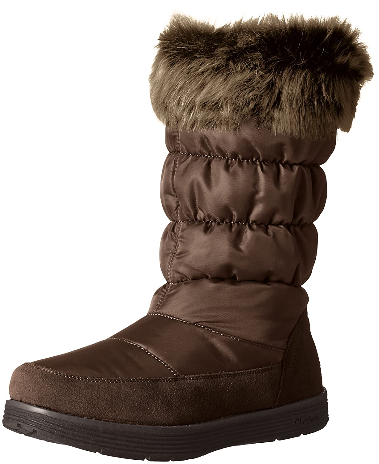 Skechers Women's Adorbs-Nylon Quilted Snow Boot B01CH512PM 6.5 B(M) US|Chocolate