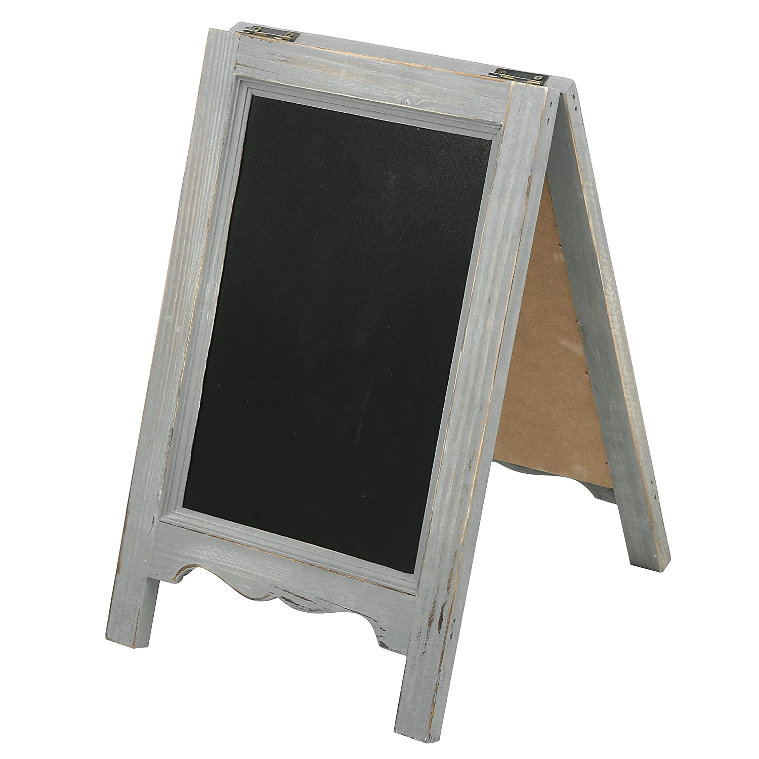 15 inch Mini Tabletop Wooden A-Frame Double-Sided Slate Chalkboard Sign Easel, Gray MyGift SPOMHNK4377