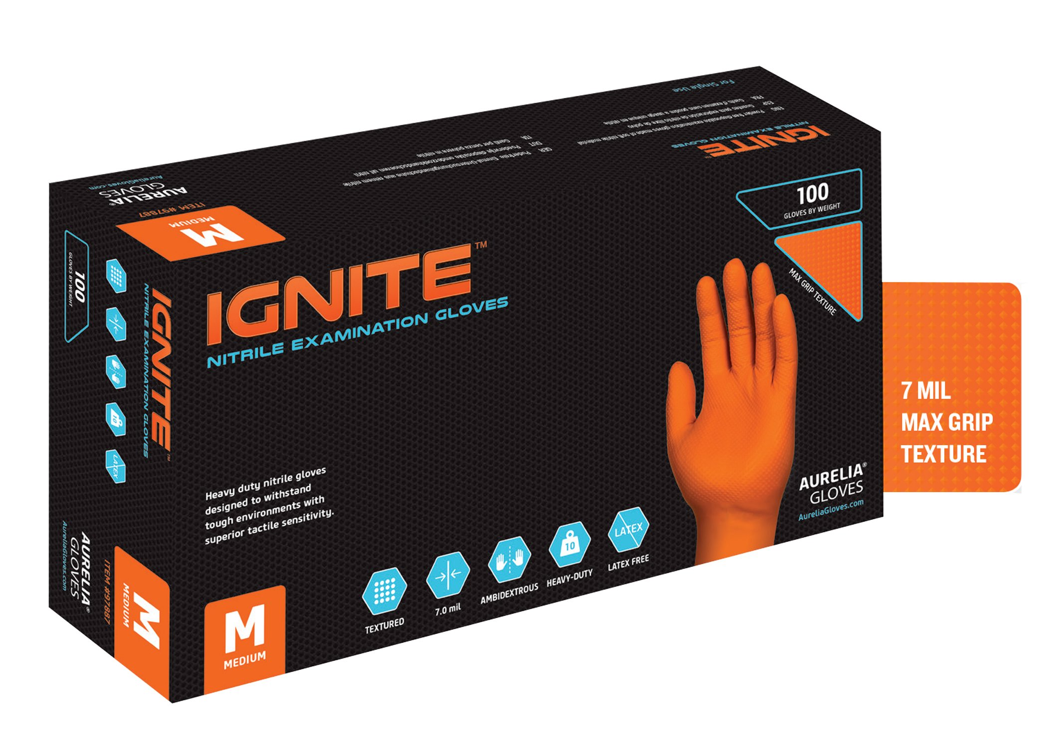 Aurelia 97888 Ignite Heavy-Duty Nitrile Gloves, Capacity, Volume, Nitrile, Large, Orange (Pack of 1000)