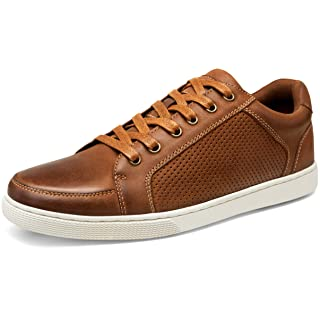 JOUSEN Men's Sneakers Leather Casual Shoes Breathable Business Casual Oxford Fashion Sneaker (10,Dark Brown)