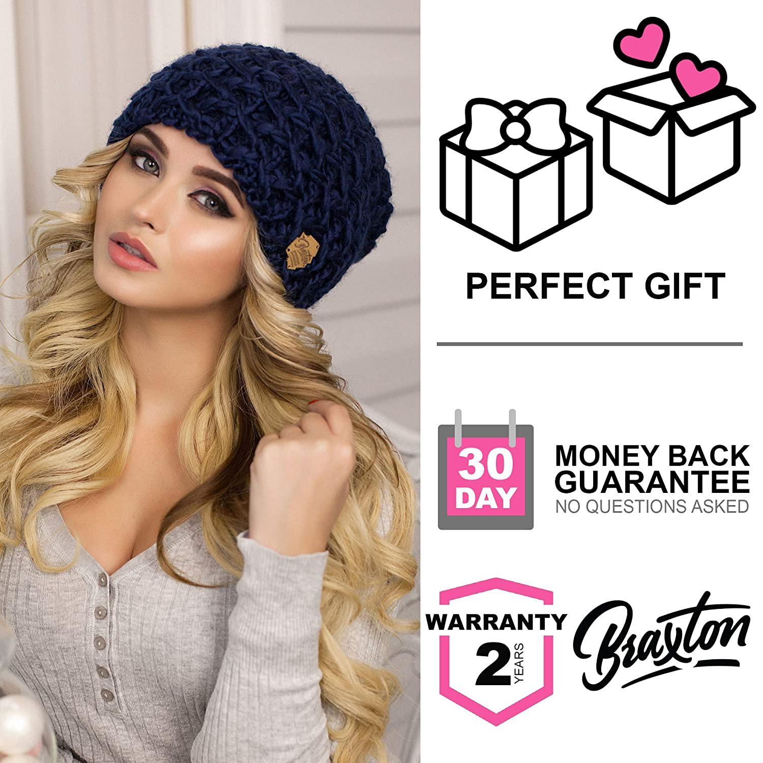 eb89add3f13 Braxton Slouchy Beanie for Women - Ski Cable Knit Winter Warm Large Hat -  Wool Snow Outdoor Cap XL at Amazon Women s Clothing store