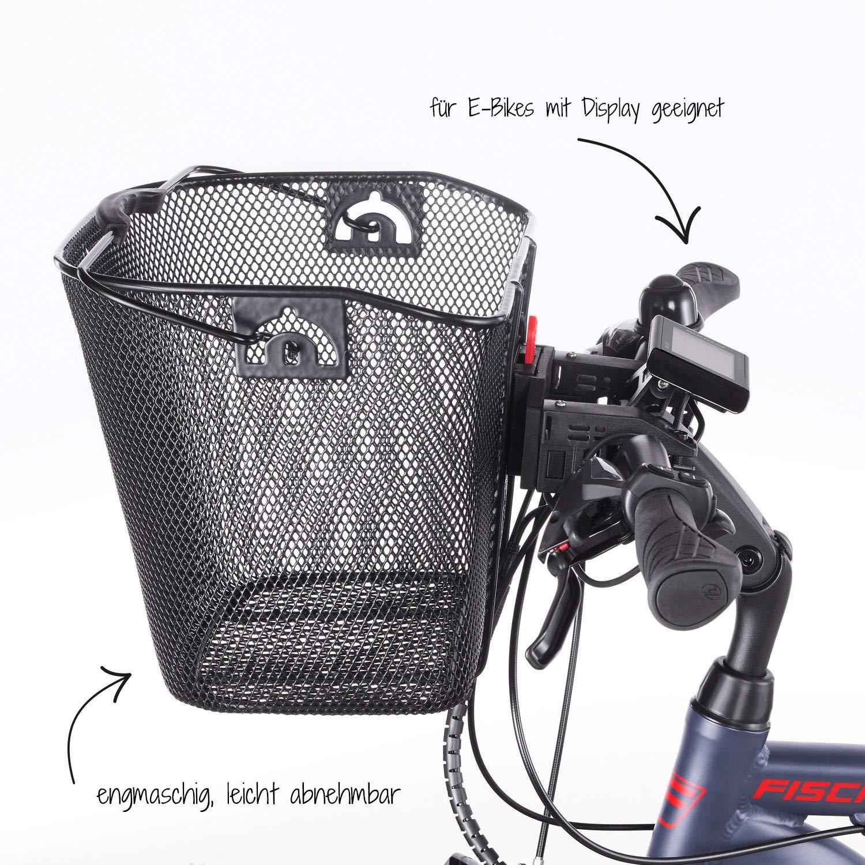 Especial para Bicicletas el/éctricas, Capacidad de Carga de 5 kg, Montaje r/ápido y f/ácil Cesta para Manillar Fischer