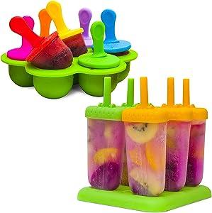 Eparé Bundle: Baby Popsicle Molds BPA Free & Popsicle Molds for Kids - Homemade Breastmilk Ice Pop for Teething Infant & Large Frozen Ice Pop Maker Set