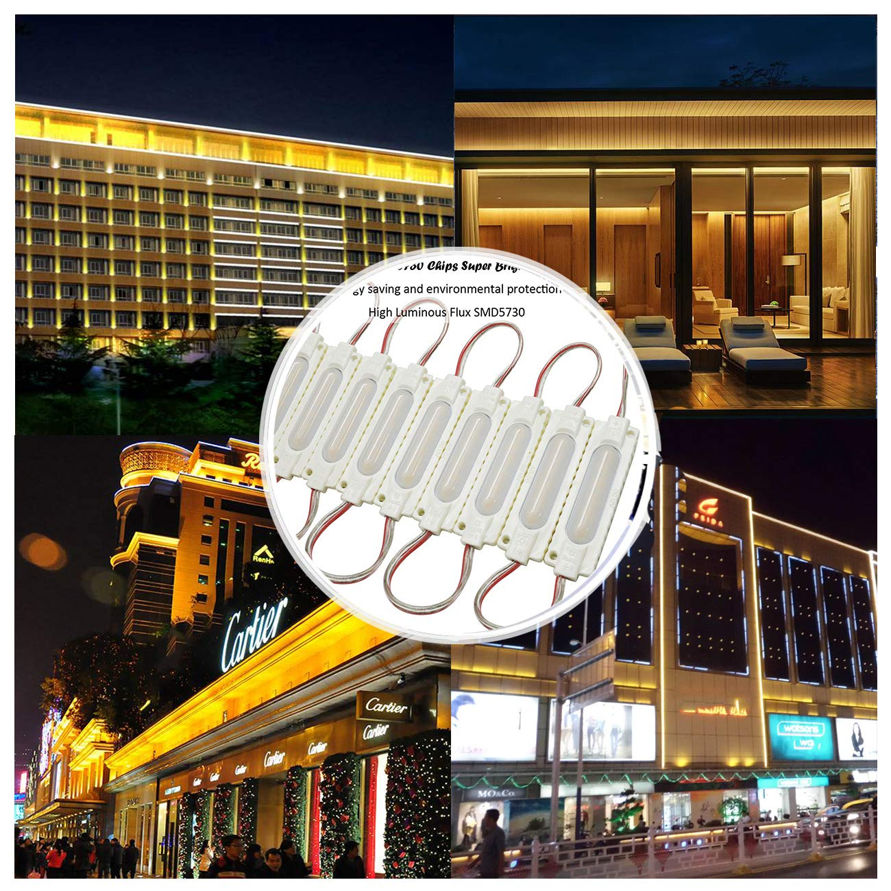 20 Ft LED Module Lights, EAGWELL IP67 Waterproof 40 Pieces Warm White LED Signs, 2 Set 5730 SMD 240 LED Module Store Front Window Light Advertising Signs
