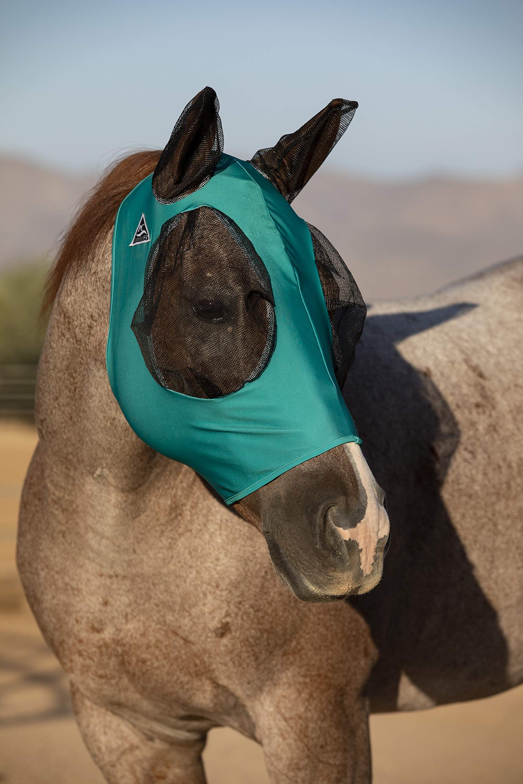 Professional's Choice Comfort Fit Lycra Horse Equine Fly Mask Mesh Ears (Horse, Teal)