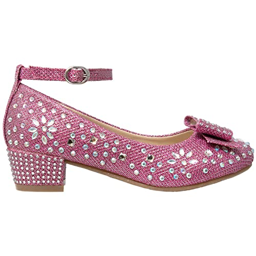 3a1cdf7cc Shoes SOBEYO Girls Low Heels Pumps T-Strap Bow Accent Glitter Rhinestone  Mary Jane Kids Sandals