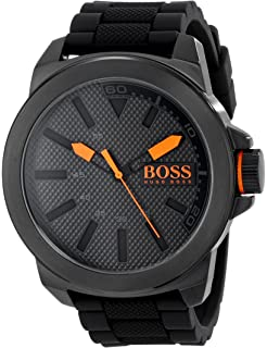 HUGO BOSS Orange Men s 1513004 New York Black Stainless Steel Watch 0be044baef