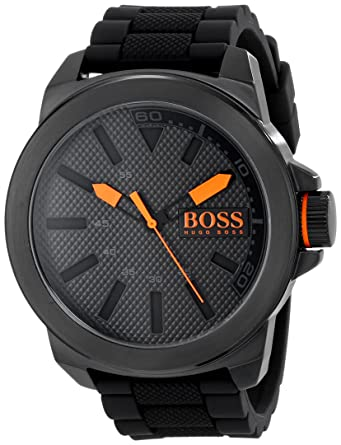 Image Unavailable. Image not available for. Color  HUGO BOSS Orange Men s  1513004 New York Black Stainless Steel Watch 762aa21fee5
