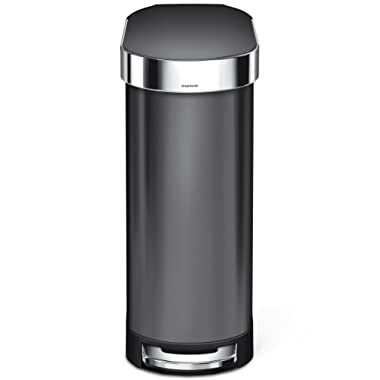 simplehuman 45 Liter / 12 Gallon Stainless Steel Slim Kitchen Step Can with Liner Rim, Black Stainless Steel