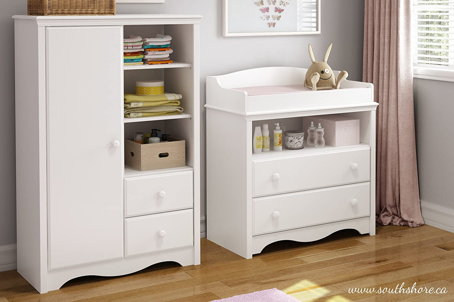 Amazon.com : South Shore Heavenly Armoire With Drawers, Pure White : Baby