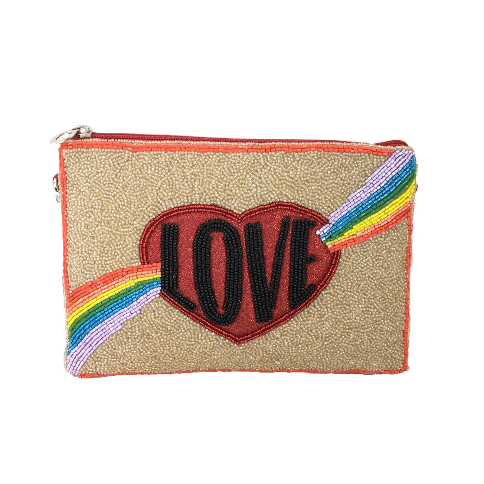 From St Xavier Rainbow Love Beaded Crossbody Clutch, Multi