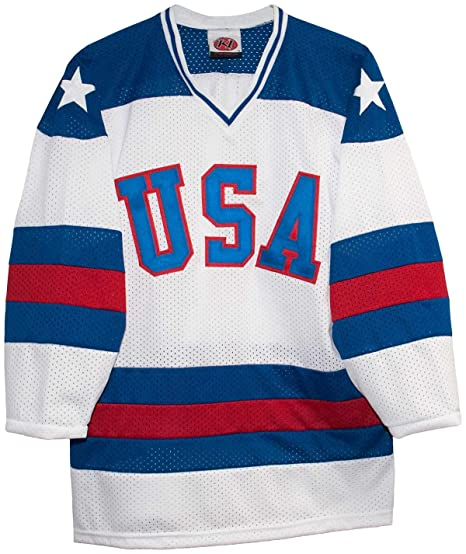 Amazon.com  USA 1980 Olympic Miracle on Ice Home White Hockey Jersey ... a4cc0c33c