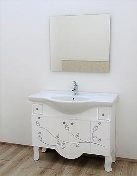 Meuble salle de bain avec lavabo contemporain Blanc et Argent ...