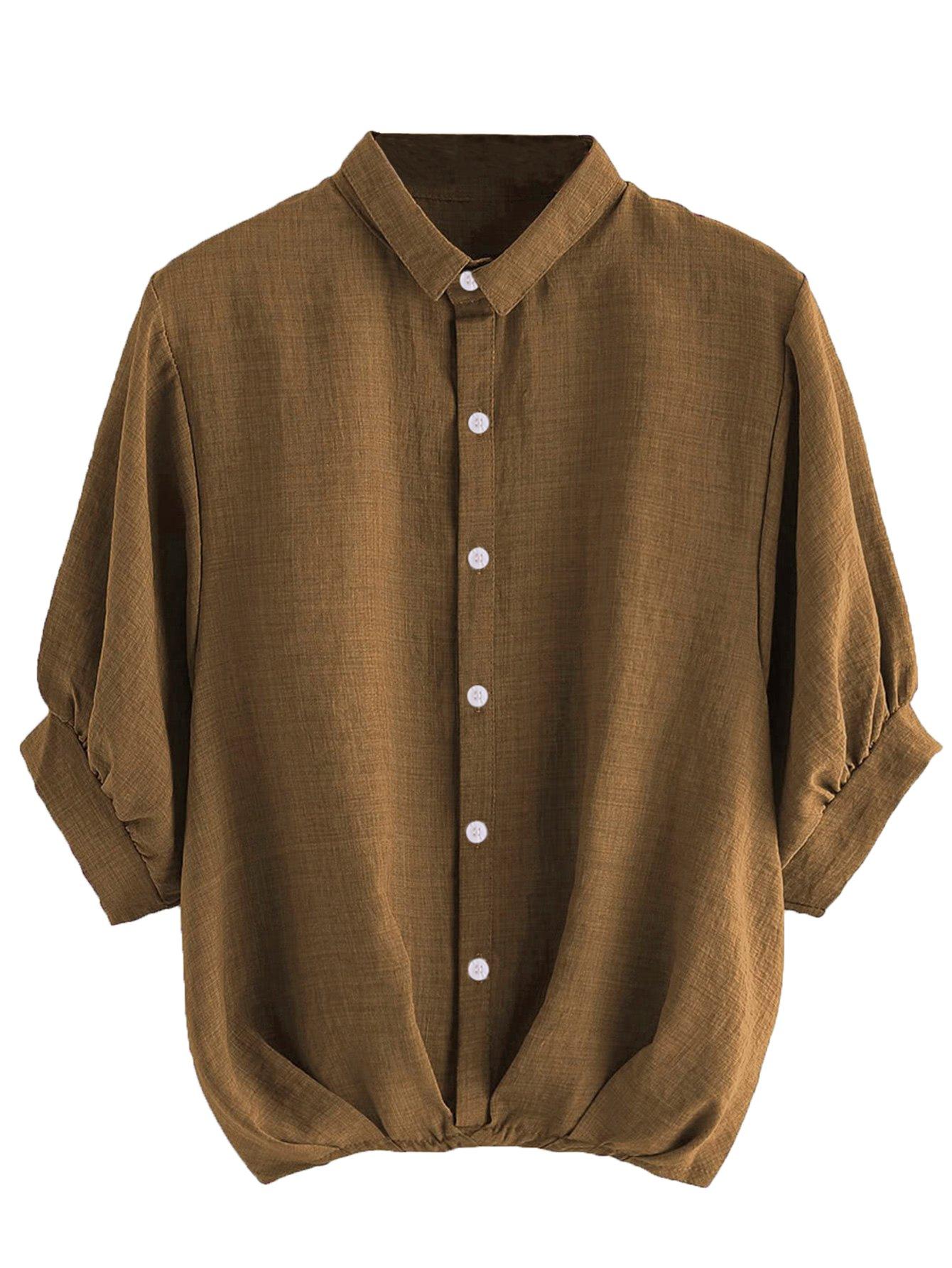 Milumia Women's Lantern Sleeve Pleated Detail Button Down Blouse Shirt Coffee Medium