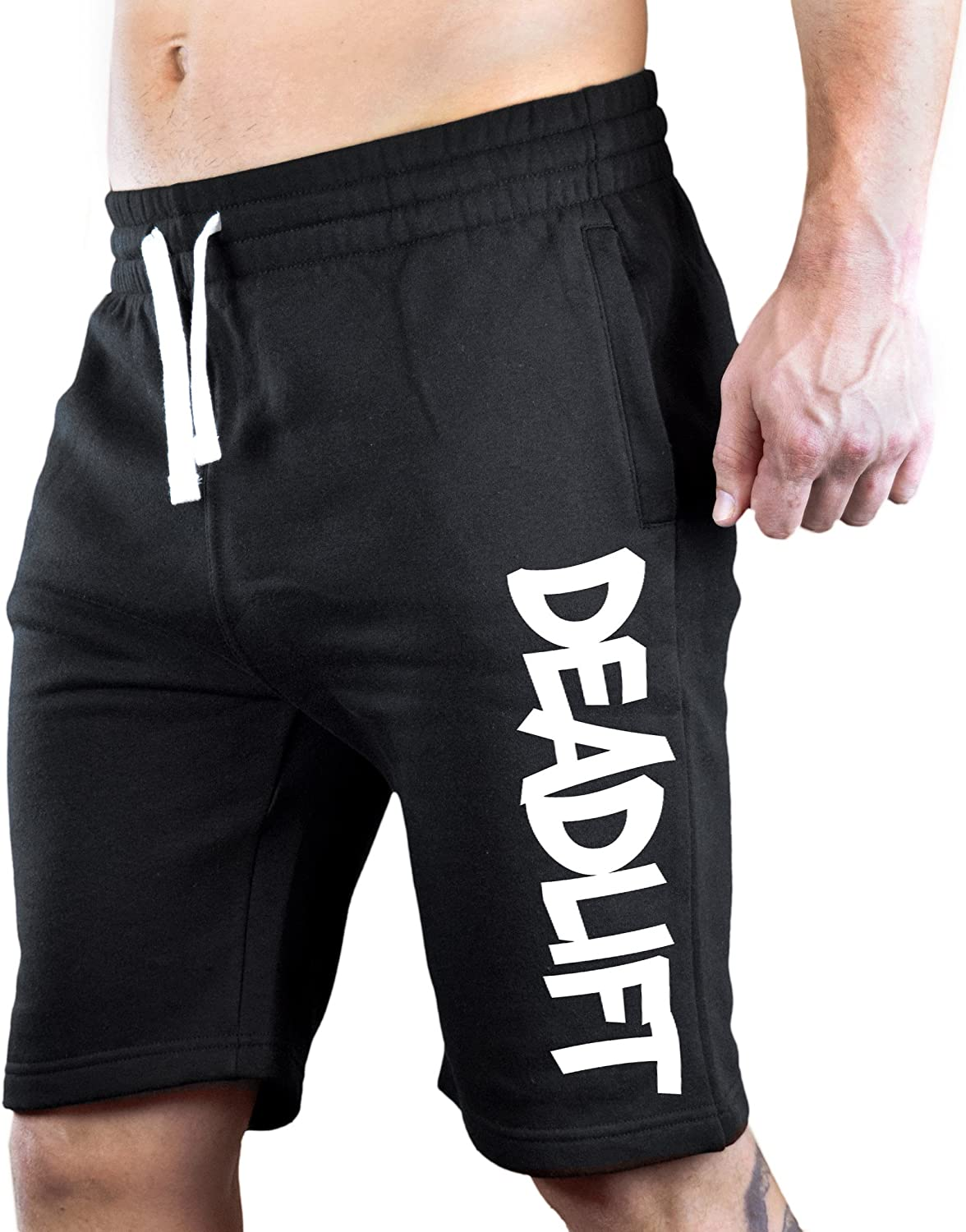 Interstate Apparel Mens Graffiti Deadlift V105 Black Fleece Jogger Sweatpant Gym Shorts