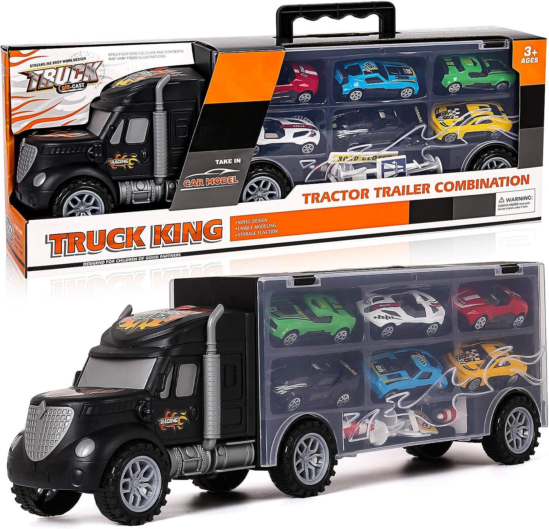 Shayson Juego De Juguetes para Camiones para Niños con Autos, Mini Vehículo Fundido a Presión, 6 Piezas, Mini Accesorios Carreras 8 Piezas Material Metálico Seguro Regalo para Los Niños